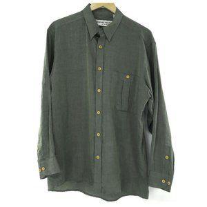 Jhane Barnes Olive Long Sleeve Button Down Shirt
